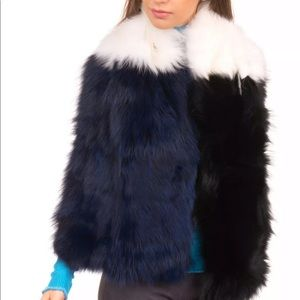 NWT pinko fox fur shawl scarf collar